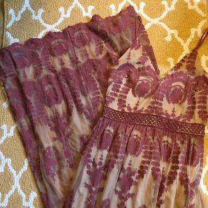 Tan/maroon dress